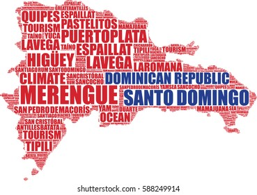 Dominican Republic map silhouette vector tag cloud