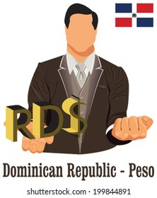 Dominican Republic national currency peso symbol representing money and Flag. Vector design concept of businessman in suit with his open hand over with currency isolated on white background in EPS10.