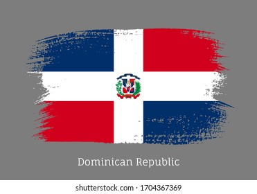 Dominican republic official flag in shape of paintbrush stroke. National identity symbol for patriotic design. Grunge brush blot isolated vector illustration. Dominican country nationality sign