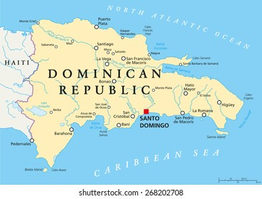 Dominican Republic Political Map with capital Santo Domingo, with national borders, important cities, rivers and lakes. English labeling and scaling. Illustration.