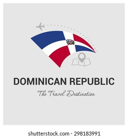 Dominican Republic The Travel Destination logo - Vector travel company logo design - Country Flag Travel and Tourism concept t shirt graphics - vector illustration