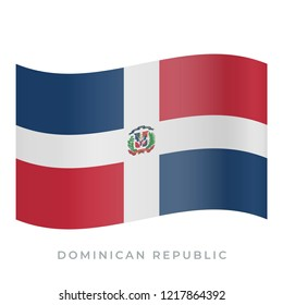 Dominican Republic waving flag vector icon. National symbol of Dominican Republic. Vector illustration isolated on white.