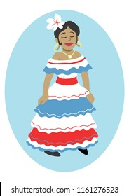 Dominican Republic Woman Traditional Dress