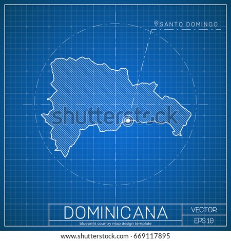 Dominicana blueprint map template capital city stock vector royalty dominicana blueprint map template with capital city santo domingo marked on blueprint dominican map malvernweather Images