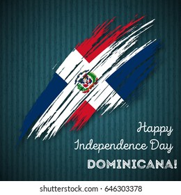 Dominicana Independence Day Patriotic Design. Expressive Brush Stroke in National Flag Colors on dark striped background. Happy Independence Day Dominicana Vector Greeting Card.