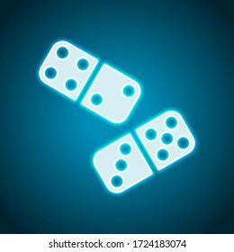 Domino, board game. Neon style. Light decoration icon. Bright electric symbol