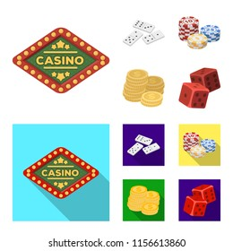 Domino bones, stack of chips, a pile of mont, playing blocks. Casino and gambling set collection icons in cartoon,flat style vector symbol stock illustration web.