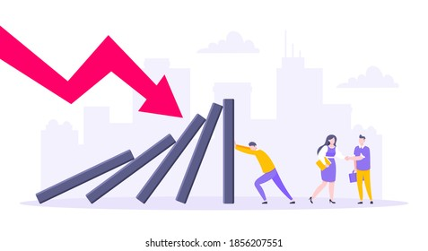 Domino effect or business resilience metaphor vector illustration. Adult young man pushing falling domino line and people behind shaking hands business concept of problem solving.