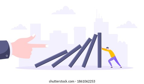 Domino effect or business resilience metaphor vector illustration. Adult young man pushing falling domino line business concept of problem solving.