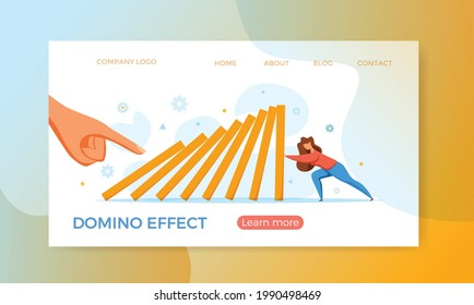 Domino effect of businessman pushing hard against falling domino vector illustration. Business concept of falling prevention, stopping conflict, solving problem, chain reaction, successful interventio