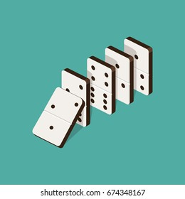 Domino effect isometric style colorful vector illustration