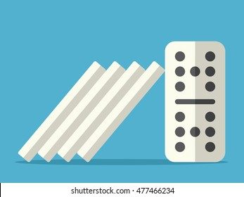 Domino effect stopped with steady tile on blue background. Crisis, individuality and power concept. Flat design. Vector illustration. EPS 8, no transparency