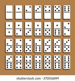 Domino full set with shadows on a brown background.