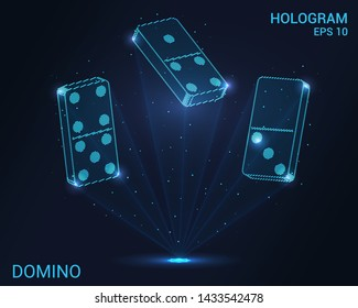 Domino hologram. Holographic projection of dominoes. Flickering energy flux of particles. Scientific sports design.