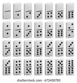 Domino Set Vector Realistic 3D Illustration. White Color. Full Classic Game Dominoes Isolated On White. Modern Collection 28 Pieces