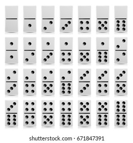 Domino Set Vector Realistic Illustration. White Color. Full Classic Game Dominoes Isolated On White. Modern Collection 28 Pieces