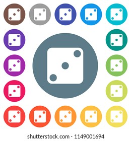 Domino three flat white icons on round color backgrounds. 17 background color variations are included.