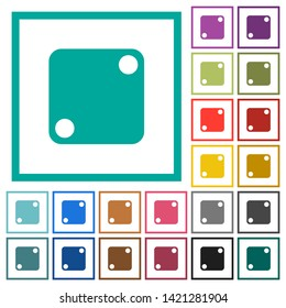 Domino two flat color icons with quadrant frames on white background