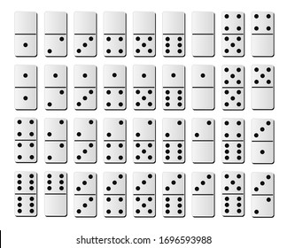 Dominoes or domino tiles white vector isolated realistic mockups with black spots number for game on white background. Vector illusration EPS 10