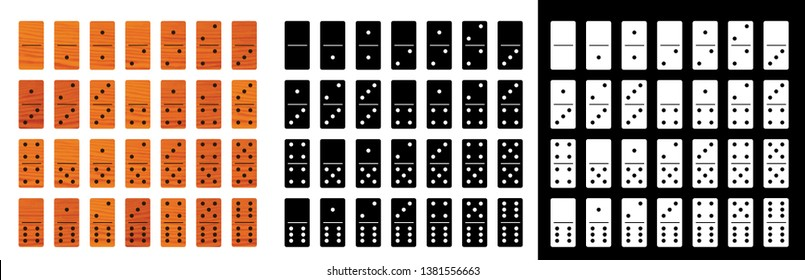 Dominoes dominos Domino game full set bones tiles Black white wood wooden Domino effect Vector fun funny icon icons sign signs symbol Business Stopping stop stops continuous 28 pieces flat style
