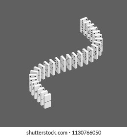 Dominoes. Isolated on grey background. 3d Vector illustration. Isometric projection.