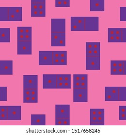 Dominoes. Seamless pattern of vibrant violet domino game pieces in random layout with dot red symbol numbers one, two, four on hot pink background. For fabric design, interior print, wrapping paper.