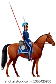 Don Cossack, horseman on the horse, Russian Empire Army Don Cossack Host Ataman Regiment Napoleonic War times uniform realistic vector illustration