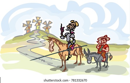 Don Quijote with his servant, Sancho Panza