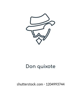 Don quixote concept line icon. Linear Don quixote concept outline symbol design. This simple element illustration can be used for web and mobile UI/UX.