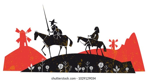 Don Quixote with his servant, Sancho Panza, vector illustration