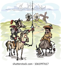 Don Quixote with his servant, Sancho Panza contemplating the windmills