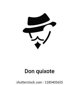 Don quixote icon vector isolated on white background, logo concept of Don quixote sign on transparent background, filled black symbol