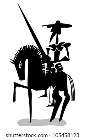 Don Quixote knight and his horse in black