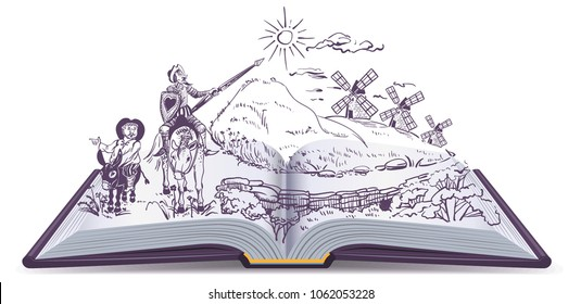 Don Quixote open book vector cartoon illustration. Spanish literature education