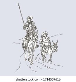 Don Quixote and Sancho Panza by Jules David, reproduction