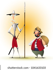 Don Quixote and Sancho Panza. The characters of Cervantes' novel. Illustration, vector, isolated.