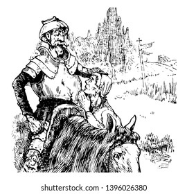 Don Quixote this scene shows a man wore helmet and sitting on horse back and one man standing near him vintage line drawing or engraving illustration