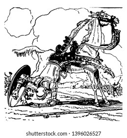 Don Quixote this scene shows a man with shield falling down from horse back vintage line drawing or engraving illustration