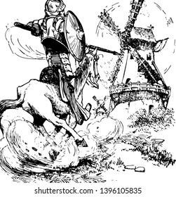 Don Quixote this scene shows a horse rider with spear and shield and windmill next to him vintage line drawing or engraving illustration