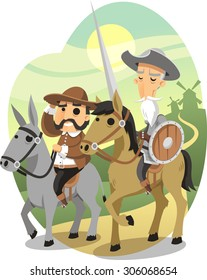 Don Quixote vector cartoon illustration