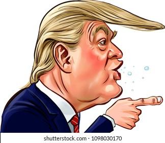 Donal Trump president of America Caricature Vector design,May,2018