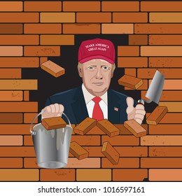Donal Trump working on fixing crack on the bricked wall