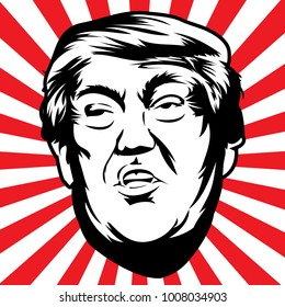 Donald John Trump. American businessman, actor, author, politician, and the President of the United States. Vector illustration.