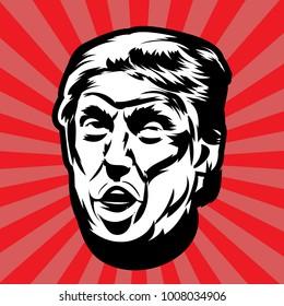 Donald John Trump.the President of the United States. Vector illustration.