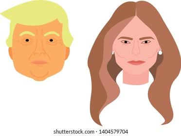 Donald and Melania Trump Flat Design Vector Illustration in Cartoon Style.