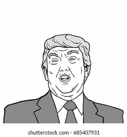 Donald Trump, 45th President of United States of America, Black And White Vector Design Illustration, July 27, 2017