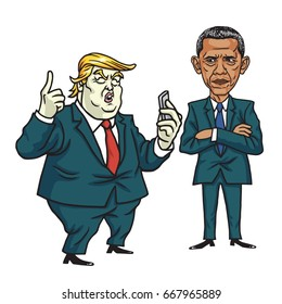 Donald Trump and Barack Obama. Cartoon Vector Illustration. June 28, 2017