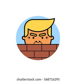 Donald Trump behind a brick Wall. Vector flat illustration of the President of the United States of America isolated on white background.
