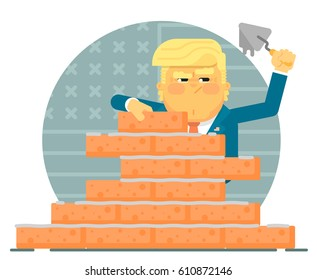 Donald Trump is building a brick wall. Illustration in a flat style with the President of the United States of America. Against the background of the US flag.