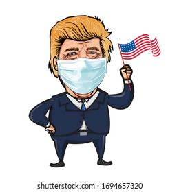 Donald Trump Caricature Wearing protective medical mask.President Of The United States.Holding USA Flag.Vector Illustration.April,5,2020